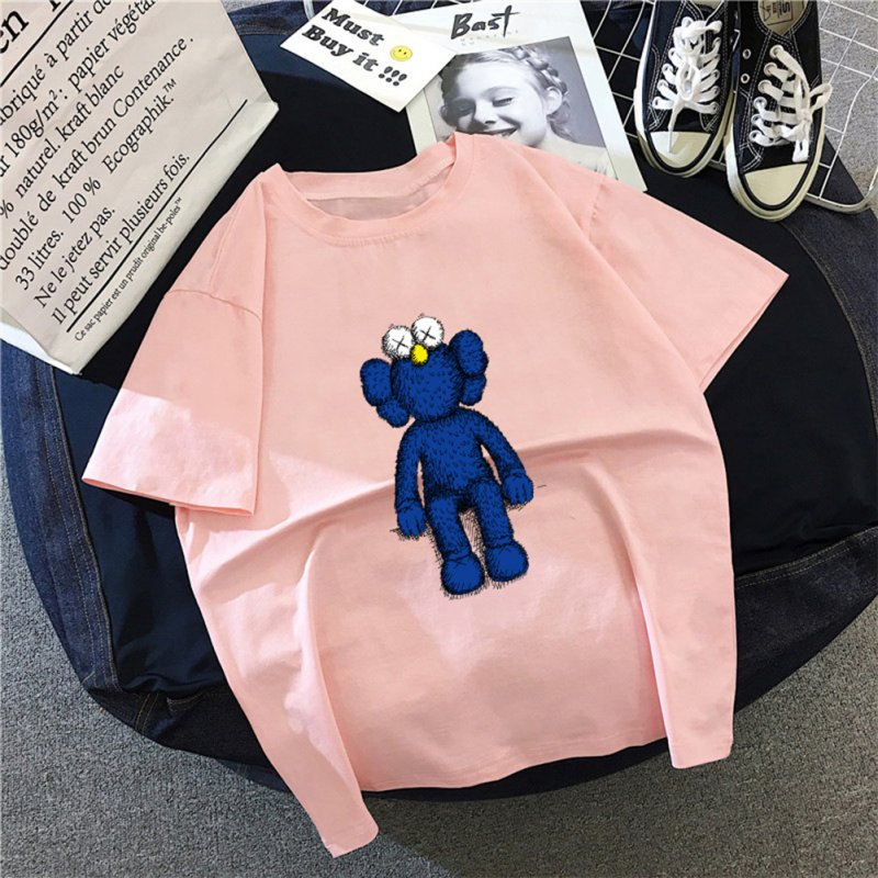 Boy Girl KAWS T-shirt Cartoon Sitting Doll Crew Neck Loose Couple Student Pullover Tops Pink_M