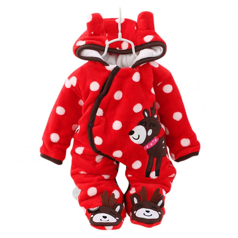 Boys Girls Baby Long-sleeved Thicken Hooded Soft Cotton Romper Cute Cartoon Jumpsuits red_80cm 12M
