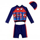 Boys Split Buoyancy Swimsuit 1-4 Years Old Cartoon Long-Sleeved Sunscreen Floating Swimsuit Navy blue_L