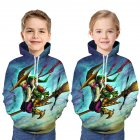 Boys and Girls Children Hoodies Halloween Cartoon Pattern 3D Digital Printing Fashion Hoodie Sweatshirts blue L  160cm
