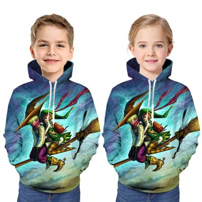 Boys and Girls Children Hoodies Halloween Cartoon Pattern 3D Digital Printing Fashion Hoodie Sweatshirts blue_L (160cm)