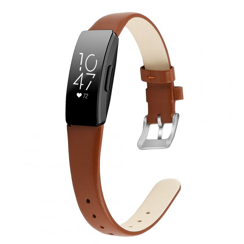 Bracelet Wrist Belt Inspire Pure Color Printing Leather Strap for Fitbit Inspire HR  Brown L code