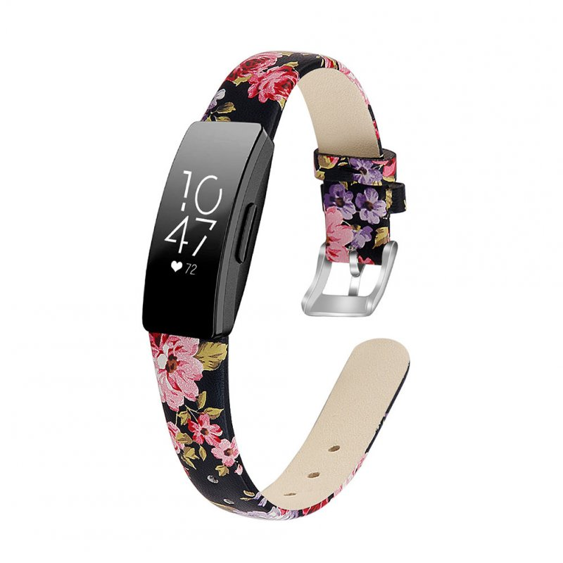 Bracelet Wrist Belt Inspire Pure Color Printing Leather Strap for Fitbit Inspire HR  Black leather powder flower L code