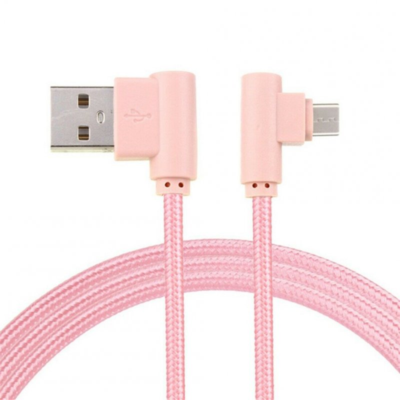 Braid USB Nylon Charging Cable L Shape Line for Type-c Android Xiaomi micro (Rose gold)