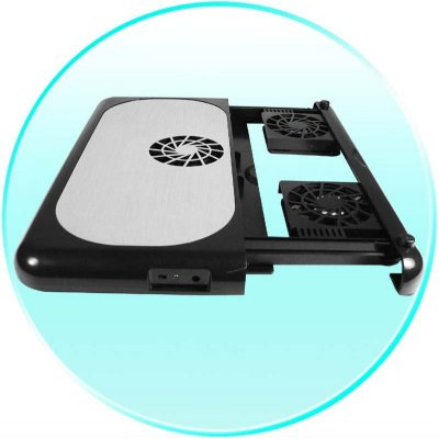 Three Fan Laptop Cooler Pad - Retractable Fan Drawer