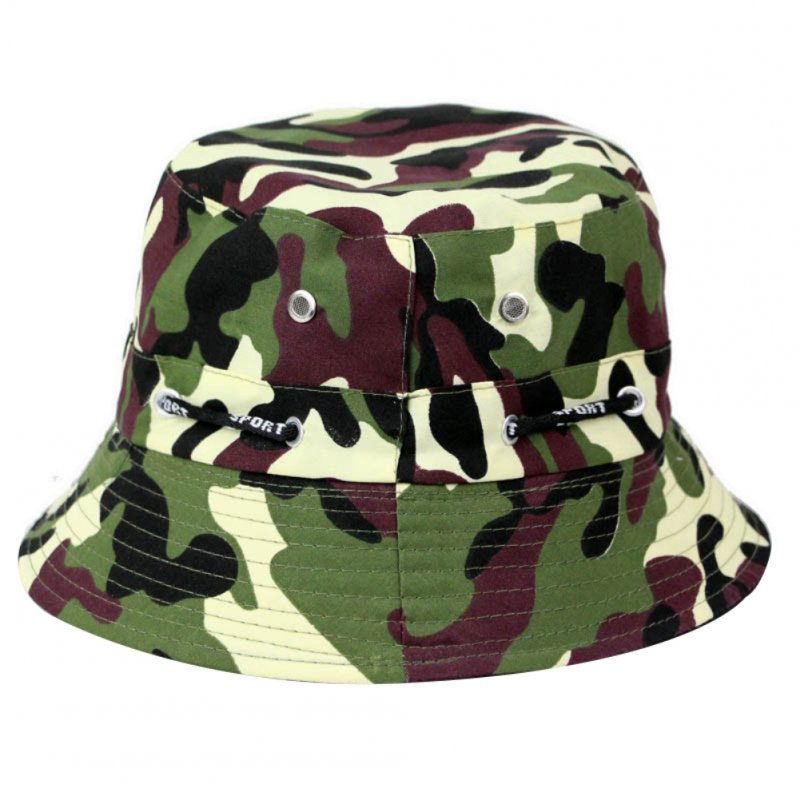 Bucket Hats Men Outdoor Fisherman Hat Cotton Fishing Cap Camouflage Bucket Caps dark brown_adjustable