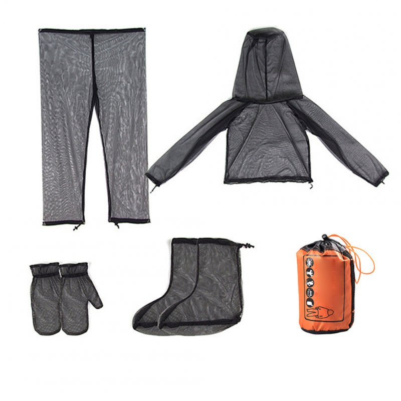 Bug Jacket Mosquito Suit Unisex Ultra-fine Mesh Summer Bug Wear for Fishing Hiking Camping Gardening  Anti-mosquito four-piece suit (full set)_S / M