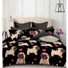 Bulldog Printed Bedding Set Duvet Cover Pillowcase Set 2 3Pcs No Sheets  Bulldog black