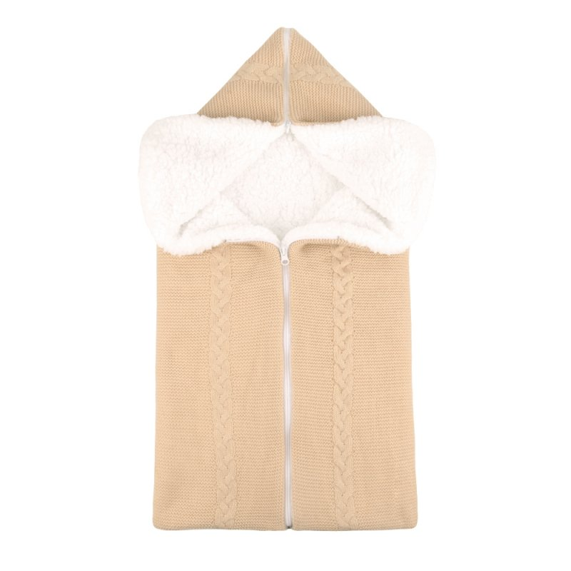 Bunting Bag Outdoor Wool Knitted Thick Warm Blanket Multifunctional Sleeping Bag for Infants and Newborns Beige