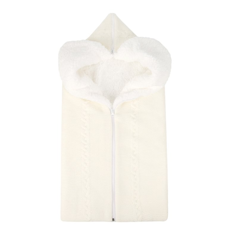 Bunting Bag Outdoor Wool Knitted Thick Warm Blanket Multifunctional Sleeping Bag for Infants and Newborns white