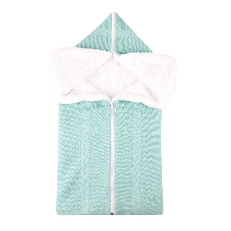 Bunting Bag Outdoor Wool Knitted Thick Warm Blanket Multifunctional Sleeping Bag for Infants and Newborns Mint color