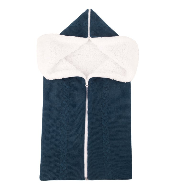 Bunting Bag Outdoor Wool Knitted Thick Warm Blanket Multifunctional Sleeping Bag for Infants and Newborns Dark blue