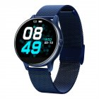 C009 Smart Bracelet Silicone Round Full-Screen Touch Heart Rate Sleep Health Monitoring Sports Smart Watch Blue steel