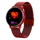 C009 Smart Bracelet Silicone Round Full Screen Touch Heart Rate Sleep Health Monitoring Sports Smart Watch Red steel