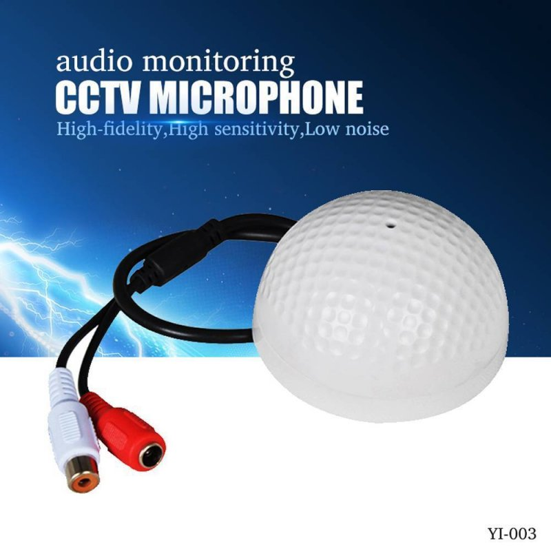 CCTV Microphone Golf Ball Shape Audio Pickup Device High Sensitivity Audio Monitoring white