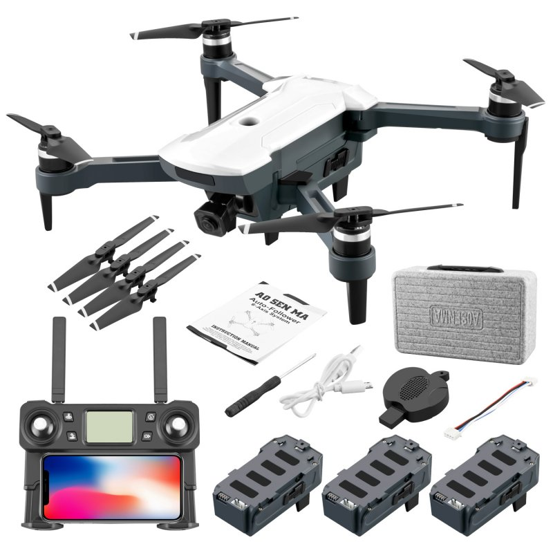 CG028 4K HD 16 Megapixel Aerial Drone With 5G Image Transmission GPS Positioning Foldable RC Quadcopter white_Three batteries