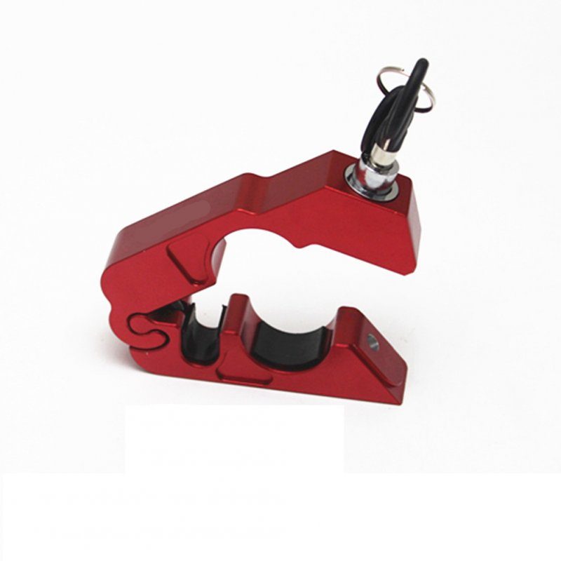 CNC Motorcycle Handlebar Lock Brake Lever Throttle Grip Security Lock Anti Theft Protection red