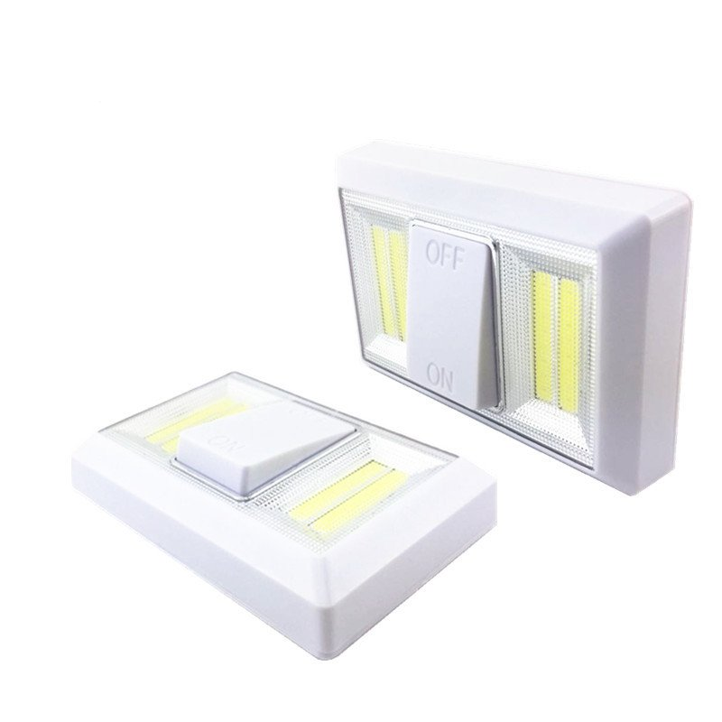 COB LED Wall Switch Lamp Battery Operated Cabinet Light White light_400LM