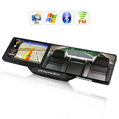 Rearview Mirror with GPS and Bluetooth