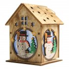 Cabin Shape Hanging Pendant with Light for Christmas Wooden Decoration Single story roof snowman