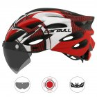 Cairbull Helmet Ultralight Off-road Mountain Bike Cycling Helmet with Removable Visor Taillight Black red_M / L (54-61CM)