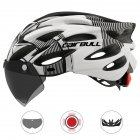 Cairbull Helmet Ultralight Off-road Mountain Bike Cycling Helmet with Removable Visor Taillight Black white_M / L (54-61CM)