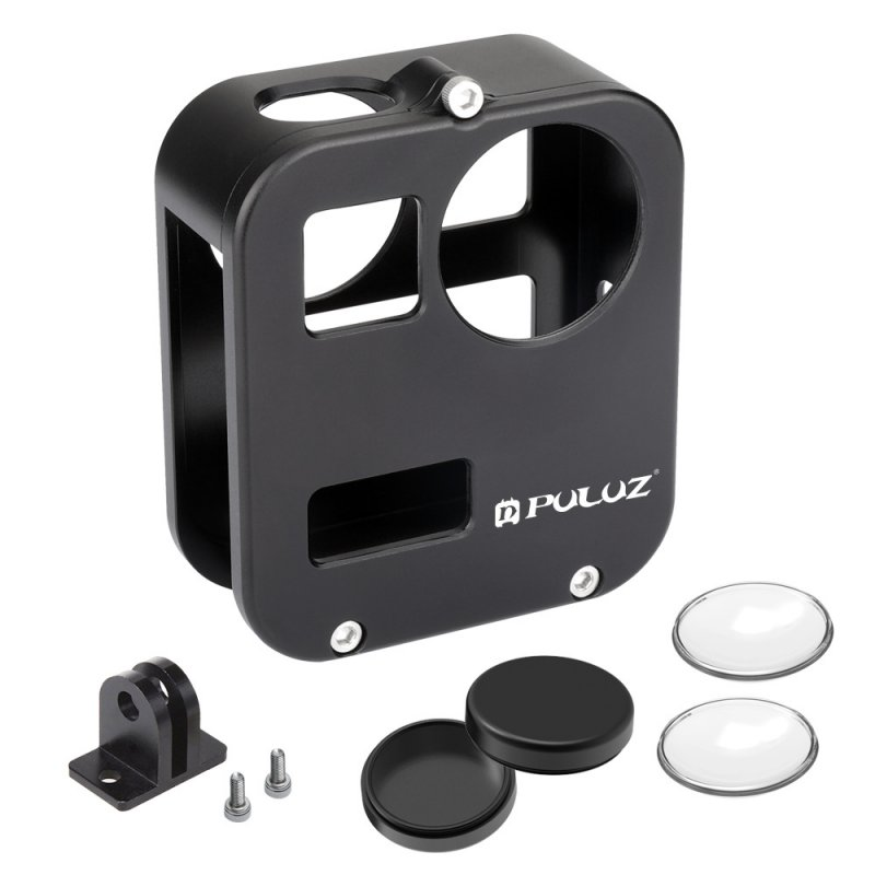 Camera Housing Shell Case Cover CNC Aluminum Alloy Protective Cage For GoPro Max & Lens cap black