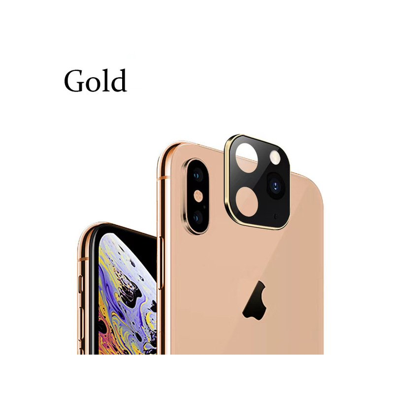 Camera Lens Protector Cellphone Lens Protective Cover Metal Sticker Cover for iPhone X/XS/MAX Scratch-proof Glass gold