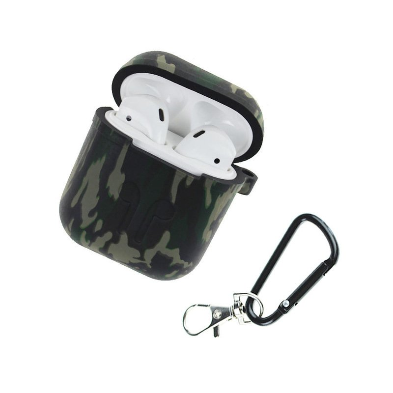 Camouflage Silicone Shockproof Protector Cover Case Carabiner for Airpods Case i10 i12 TWS Bluetooth Luminous Protector Green camouflage