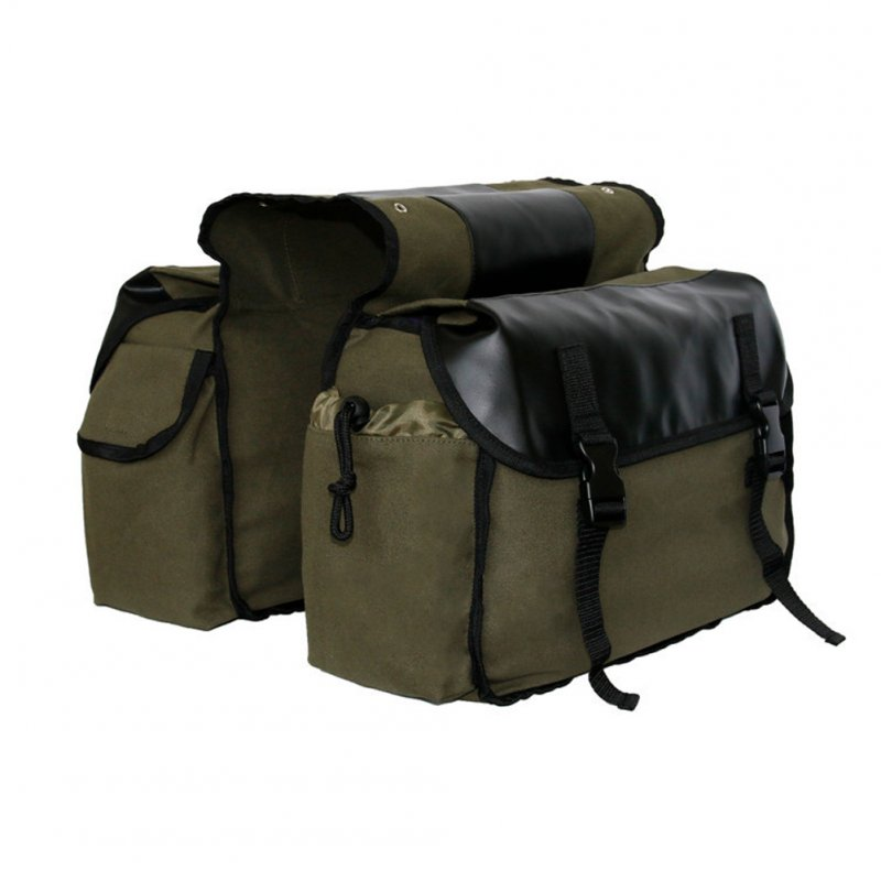 Canvas Bicycle Carrier Bag Rear Rack Trunk Bike Luggage Back Seat Pannier ArmyGreen_Free size