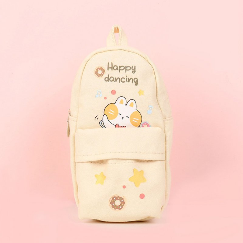 Canvas Pencil Case Large Capacity Zipper Pencil Bag School Stationery Beige Music Bunny