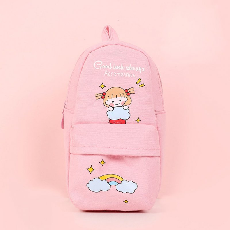 Canvas Pencil Case Large Capacity Zipper Pencil Bag School Stationery pink cloud girl