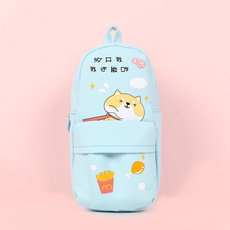 Canvas Pencil Case Large Capacity Zipper Pencil Bag School Stationery blue I can still eat