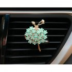 Car Air Vent Decoration Car Interior Decoration Rhinestone Ballet Girl Car Air Freshener Clip with Fragrance Cotton Pads  green