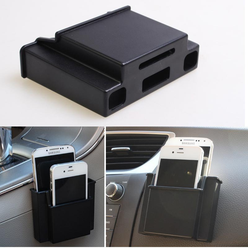 Car Air Vent Outlet Plastic Phone Card Holder Automobiles Mobilephone Hanging Pocket Storage Box