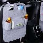 Car Back Seat Felt Multi Pocket Hanging Storage Bag Organiser Car Seat Back Bag Auto Travel Holder Car Accessories Light gray_1 pc