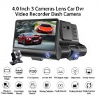 Car DVR 4.0 Inch Full HD 1080p 3 Camera Dual Lens Rearview Video Camera Recorder Auto Registrator Night Vision Dash Cam black_3-way camera