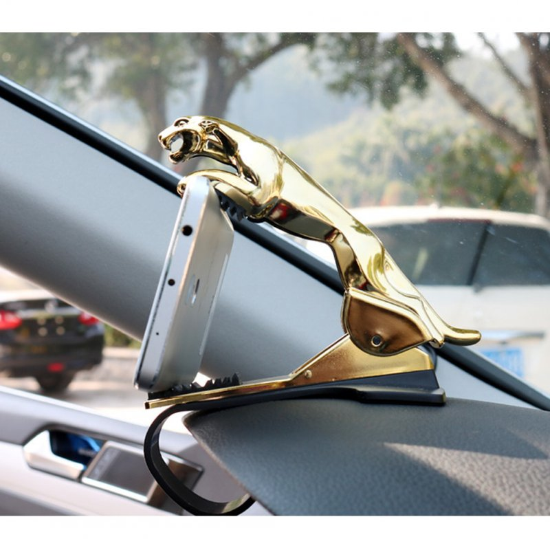 Car Dashboard Mobile Smart Phone Holder Adjustable Leopard Mount Stand Bracket gold_Clip