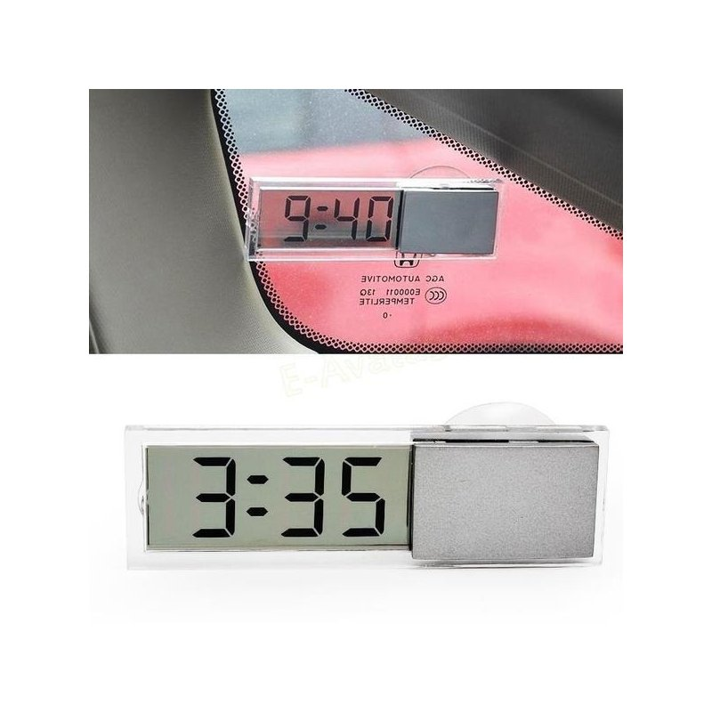 Car Electronic Clock Mini Transparent LCD Display Digital with Sucker Glass Car Ornaments Electronic clock