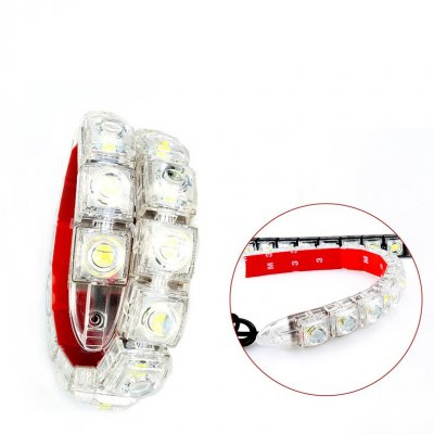 Car Flexible 12 LED DRL Daytime Running Light Driving Daylight Fog Light Lamp White shell / ice blue light