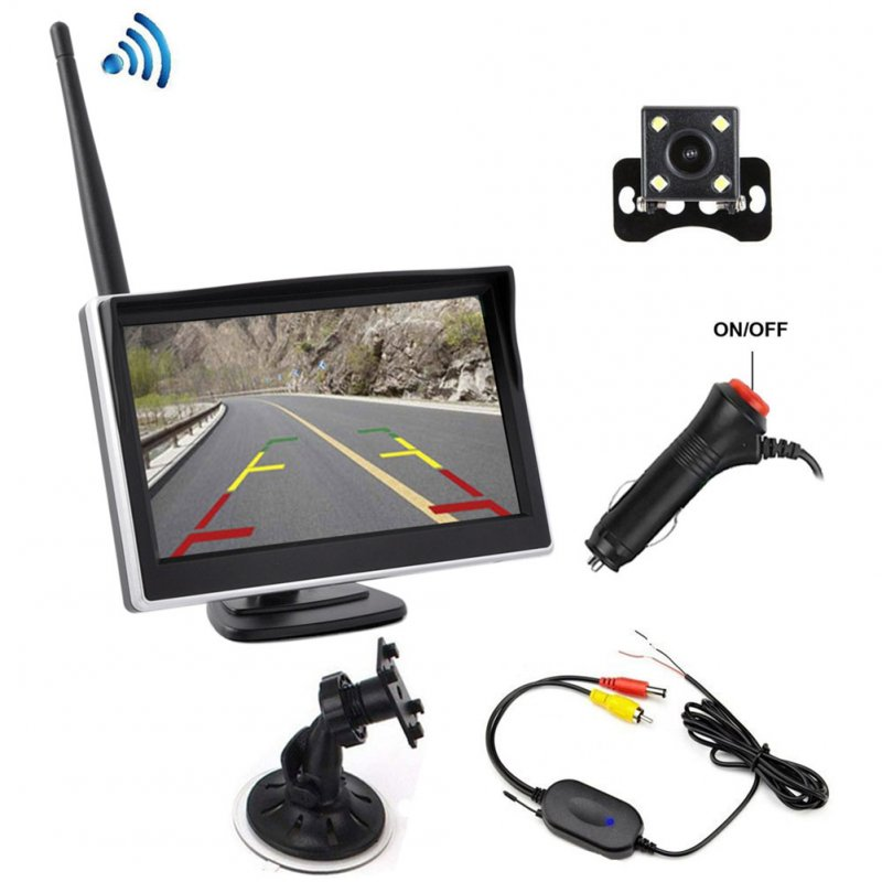 Car HD Built-in Wireless Display with Rear Camera Wireless Transmitter black