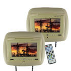 Car Headrest DVD player system with a high quality leather exterior and a super large 7 inch LCD screen for letting passengers in the back seats enjoy