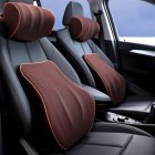 Car Headrest Lumbar Support Pillow Back Cushion Memory Foam Back Pain Relief Cushions brown_Headrest + lumbar support