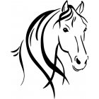 Car Horse Head and Mane Decal Sticker Car Styling Decoration black