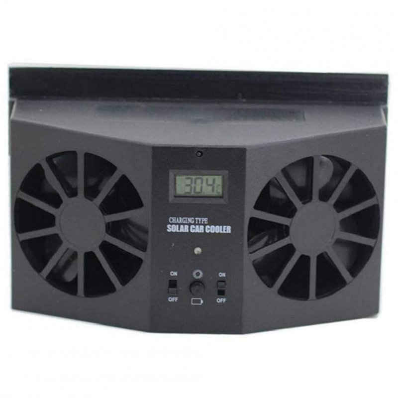 Car Interior Auto Air Vent Solar Powered Cool Fan Ventilation System Dual-Fan Ventilator black