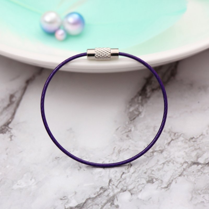Car Key Ring Pendant Stainless Steel Wire Rope Shape Color Hoop Key Ring  purple_Single