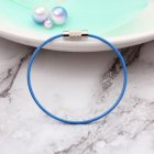Car Key Ring Pendant Stainless Steel Wire Rope Shape Color Hoop Key Ring  blue Single
