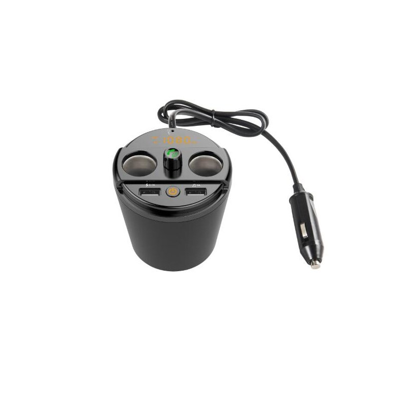 Car MP3 Bluetooth Player Vehicle-mounted Bluetooth Handsfree Bluetooth FM Car Charger Cup FM Player Golden