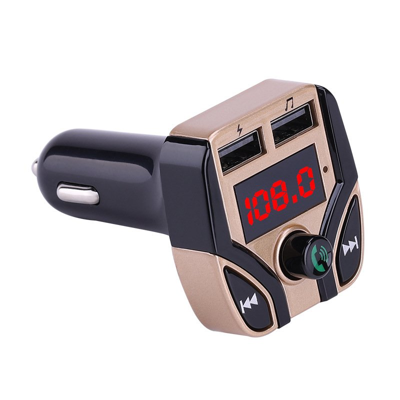 Car MP3 Player FM Transmitter Multifunction Hands-free Call Car Bluetooth Player USB Charger TF Card Support Gold