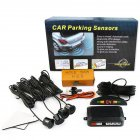 Car Parking Sensor Kit Rear Reverse 12V 4 Sensors Buzzer Sensor Audio Alarm Probe black